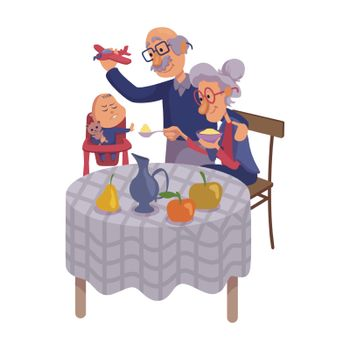 Grandparents feeding baby flat cartoon vector illustration. Kid refuse to eat. Grandpa and grandma. Ready to use 2d character template for commercial, animation, printing design. Isolated comic hero