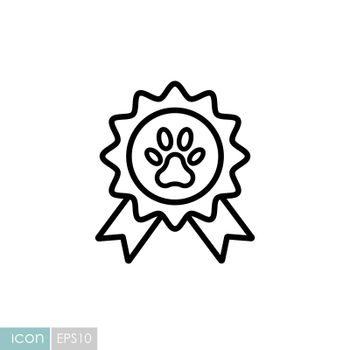 Pets award rosette vector icon. Pet animal sign. Graph symbol for pet and veterinary web site and apps design, logo, app, UI