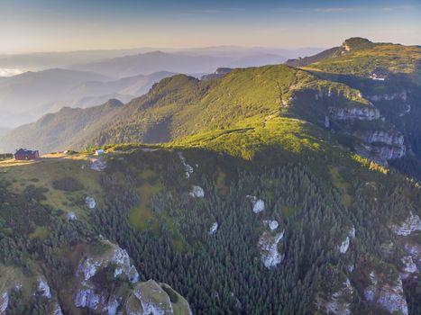 Rocky mountain in a summer landscape, Morning scene in Romanian Carpathians