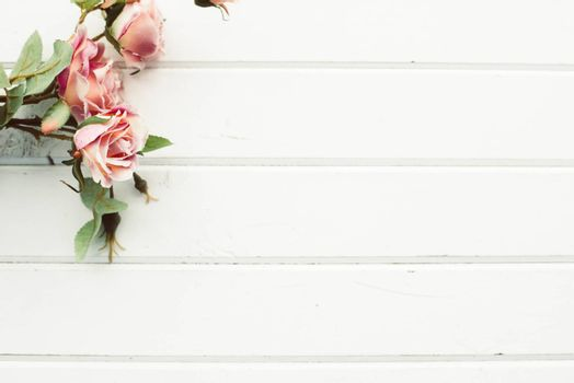 Flowers on a background of white boards