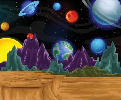 Outer Space View Cartoon