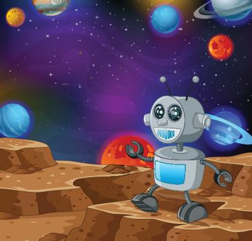 Robot in Outer Space Cartoon