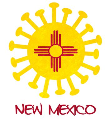 State flag of New Mexico with corona virus or bacteria