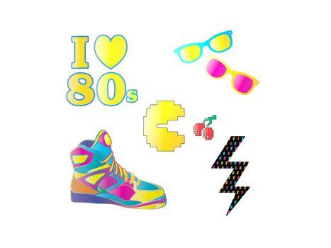 beautiful colors 80s logos - 3d rendering