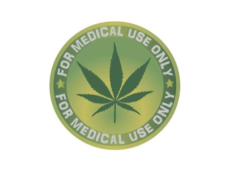 round medical green cannabis logo on white background - 3d rendering