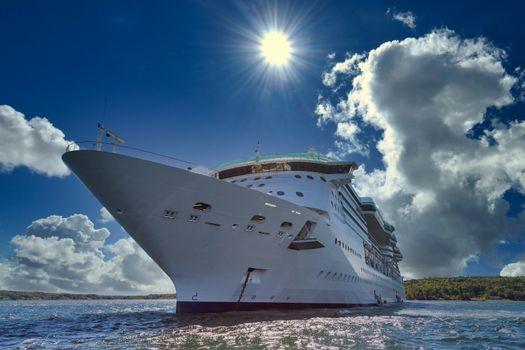 Cruise Ship Anchored Under Sun