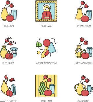 Cultural movements RGB color icons set