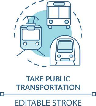 Take public transportation turquoise concept icon