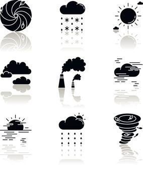 Meteorology drop shadow black glyph icons set