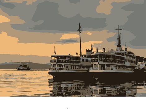 city lines ferries at bosporus in istanbul