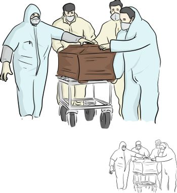 four people in PPE suit or Personal protective equipment carry the coffin handling for disposal vector illustration sketch doodle hand drawn isolated on white background. Covid-19 situation.