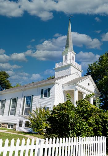 White Church Past Picket Fence