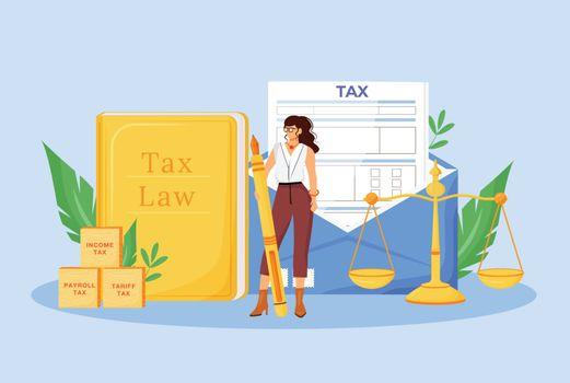 Tax payment expert flat concept vector illustration. Financial consultant, economist 2D cartoon character for web design. Financier consulting service, professional assistance creative idea