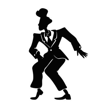 Comic man in retro suit black silhouette vector illustration. Male person in boogie woogie pose. Old fashioned guy with 50s hairstyle 2d cartoon character shape for commercial, animation, printing