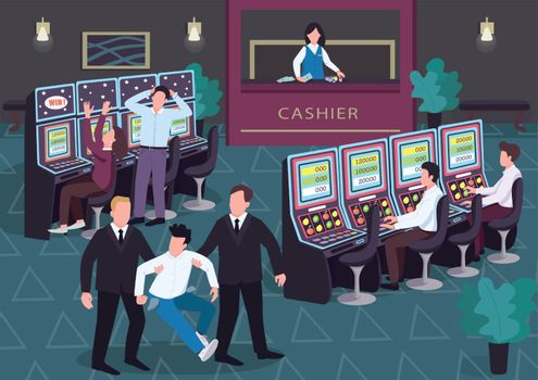 Casino flat color vector illustration. Man and woman play lottery. Security walk off loser with empty pockets. Gambler 2D cartoon characters in interior with group of people on background