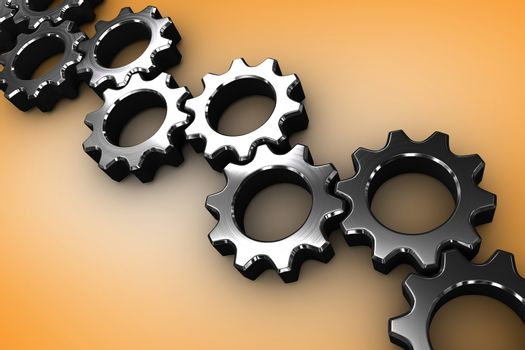 Composite image of many chrome cogs and wheels