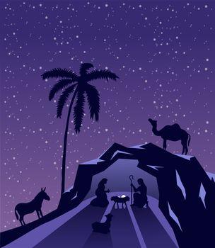 Nativity scene vector under starry sky
