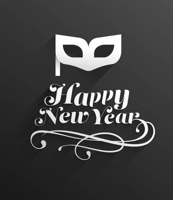 Digitally generated Happy new year vector with mask