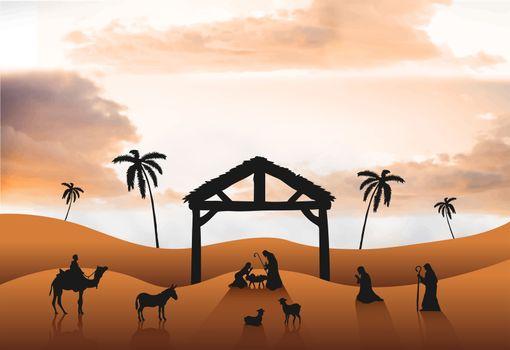 Nativity scene vector in desert