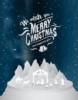 Christmas vector with nativity scene