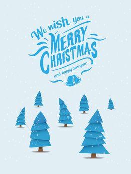 Christmas vector with blue fir trees
