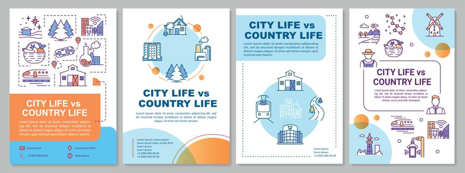City life vs country life brochure template
