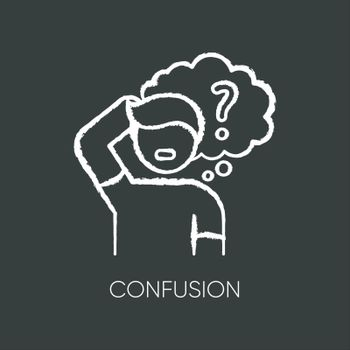 Confusion chalk white icon on black background