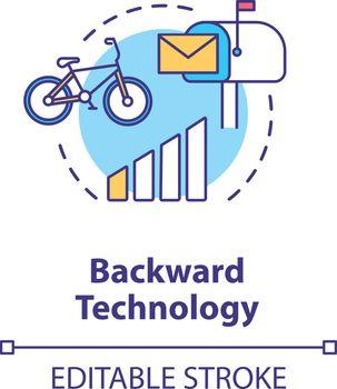 Backward technology concept icon