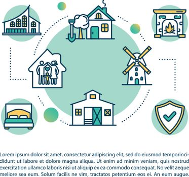 Village housing concept icon with text