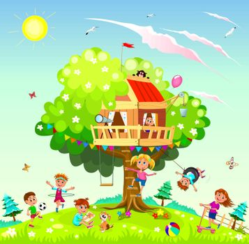 Children play near a tree. Treehouse for children. Sky, sun, clouds.