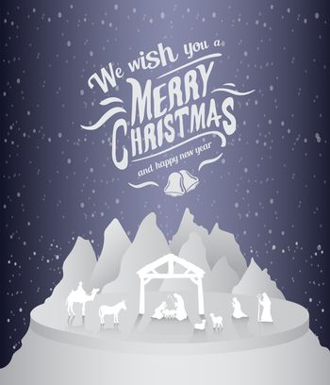 Merry christmas vector with nativity scene