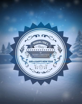 Merry christmas vector against snowy scene