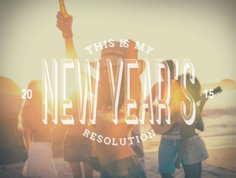 New years resolution message against beach party