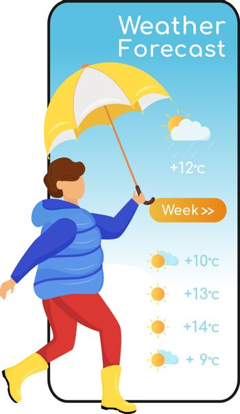 Weather forecast cartoon smartphone vector app screen. Mobile phone display, flat character mockup. Child in gumboots. Kid with umbrella. Boy in coat. Meteorology application telephone interface
