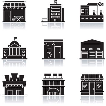 Urban building exteriors drop shadow black glyph icons set