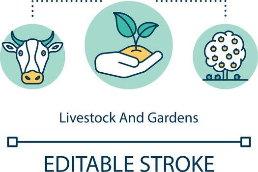 Livestock and gardens concept icon