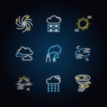 Meteorology neon light icons set
