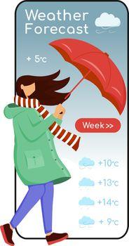 Weather forecast cartoon smartphone vector app screen. Mobile phone display, flat character mockup. Caucasian female in raincoat. Woman with umbrella. Meteorology application telephone interface