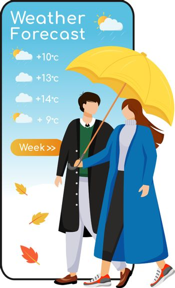 Weather forecast cartoon smartphone vector app screen. Mobile phone display, flat character mockup. Romantic relationship. Caucasian couple with umbrella. Meteorology application telephone interface