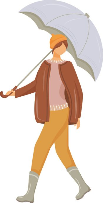 Woman in pullover and jacket flat color vector faceless character. Walking caucasian lady in gumboots. Wet weather. Female with umbrella in hand isolated cartoon illustration on white background