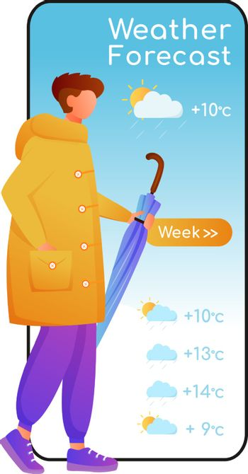 Weather forecast cartoon smartphone vector app screen. Mobile phone display with flat character design mockup. Male with umbrella. Man in raincoat. Meteorology application telephone interface