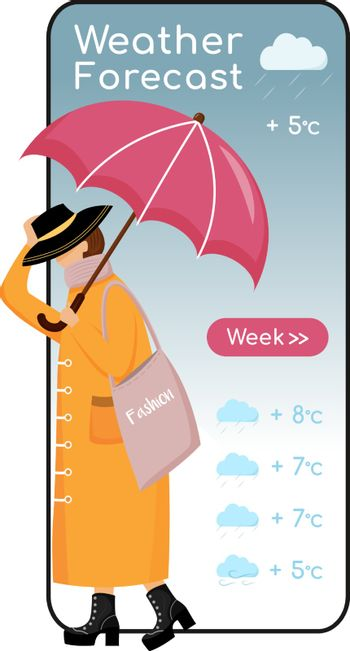 Weather forecast cartoon smartphone vector app screen. Mobile phone display, flat character design mockup. Fashionable woman on heels. Female with umbrella. Meteorology application telephone interface