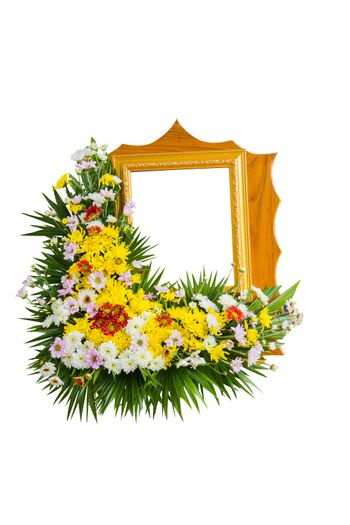 wreath frame with white flowers and branches isolated on white background.