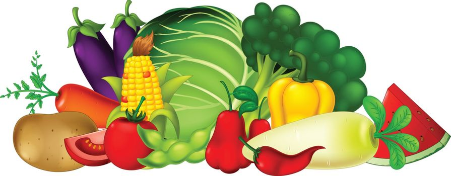 Fresh Fruit and Vegetable Cartoon Collection Set