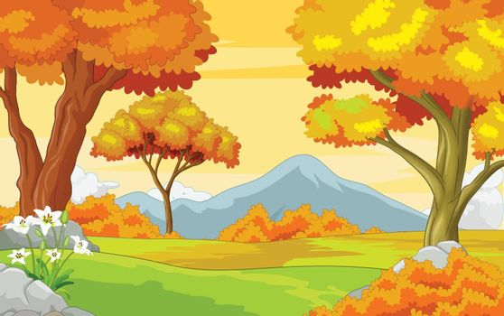 Autumn Forest With Mountain Background