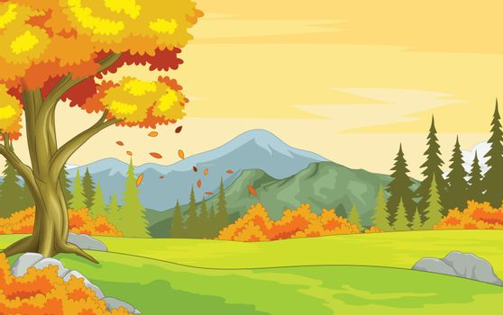 Meadow Autumn Forest View Background