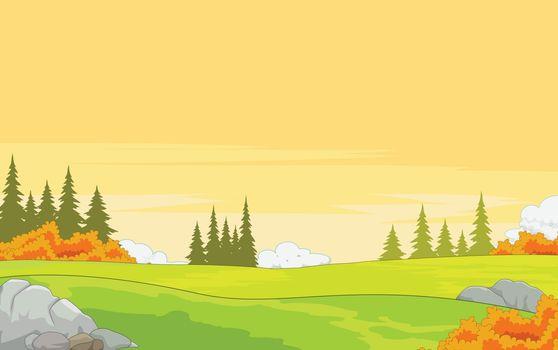 Landscape Autumn Meadow View Background
