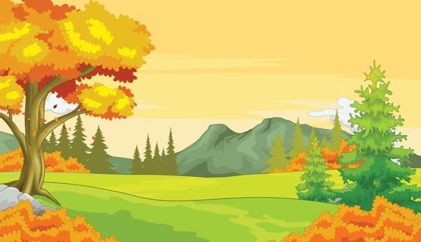 Autumn Forest View Background