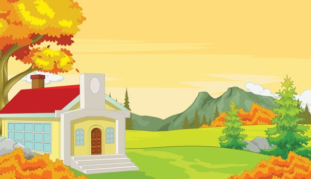 House With Autumn Forest Background