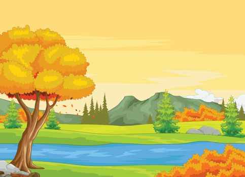 River With Autumn Forest Background